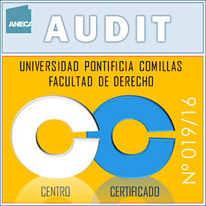 AUDIT stamp certifying the implementation of the Quality Management System applicable to official teaching at the Faculty of Law.